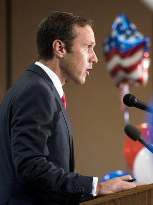 Paul Nehlen speaks Aug. 9, 2016, in Janesville, Wis., after losing to House Speaker Paul Ryan in Wisconsin's 1st Congressional District primary.