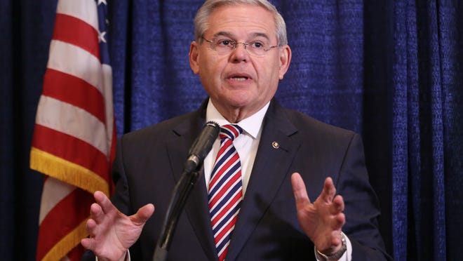 APU.S. Sen. Bob Menendez speaks during a news conference, Wednesdayin Newark. Menendez, the top Democrat on the U.S. Senate Foreign Relations Committee, was indicted on corruption charges, accused of using his office to improperly benefit an eye doctor and political donor. U.S. Sen. Bob Menendez speaks during a news conference, Wednesday, April 1, 2015, in Newark, N.J. Menendez, the top Democrat on the U.S. Senate Foreign Relations Committee, was indicted on corruption charges, accused of using his office to improperly benefit an eye doctor and political donor. (AP Photo/Craig Ruttle)