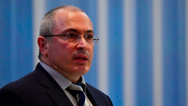 Mikhail Khodorkovsky, head of the Open Russia movement and the former oil tycoon who served 10 years in jail after openly opposing President Vladimir Putin, speaks in Berlin on March 20, 2017.