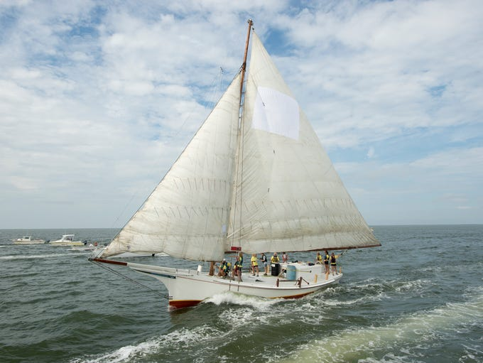 """The crew of the skipjack Helen Virginia, owned by Harold """"Stoney"""" Whitelock and captained by Katarina Ennerfelt, won the 55th Annual Skipjack Races in Deal Island. They were the first all-female crew to race."""