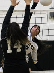Alamogordo's Faith Silva hits a ball past Chaparral's