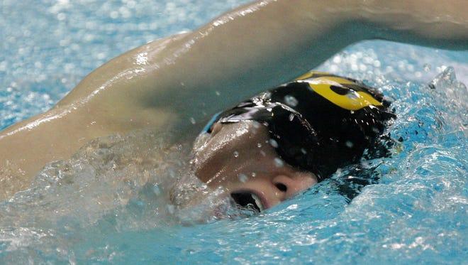 Green Bay United's Kaleb Jarvey swims the 750 years freestyle at the Sheboygan North Raiders Relays Saturday January 10, 2015 at North.