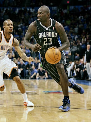 NBA veteran Jason Richardson, a former Michigan State star and Saginaw native during the NBA season opening game in 2011.