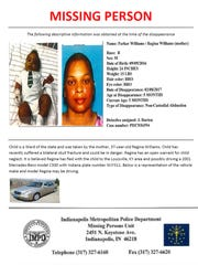 Missing persons poster for Parker Williams from the Indianapolis Metropolitan Police Department.
