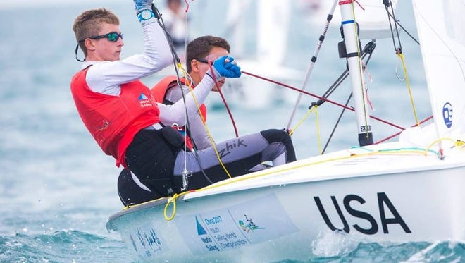 Trevor Bornarth, senior at South Fork High School, with his teammate, Thomas Rice, compete in the World Youth Sailing Championship in China.