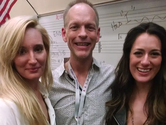 Ruby Stewart (left), Andy Eisenmann (center) of Rancho Mirage High School, and singer-songwriter Alyssa Bonagura collaborated on a recent project with Eisenmann's students.