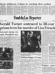 An image of the front page of the Fond du Lac Reporter on Feb. 4, 1975, after the conviction of Gerald M. Turner in the murder of Lisa Ann French.