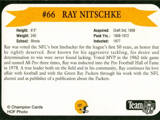 Packers Hall of Fame player Ray Nitschke