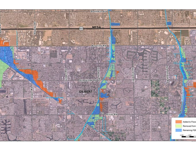 Gilbert Chandler Add Homes To New Highrisk Flood Zone: Map Of Arizona Flooding At Usa Maps