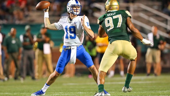 MTSU quarterback John Urzua was 23-of-42 for 268 yards with one touchdown and two interceptions against UAB on Saturday.