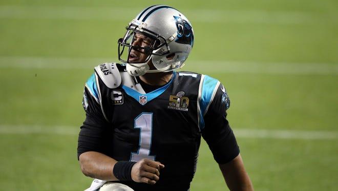Carolina Panthers quarterback Cam Newton (1) reacts during the fourth quarter in Super Bowl 50 against the Denver Broncos at Levi's Stadium.