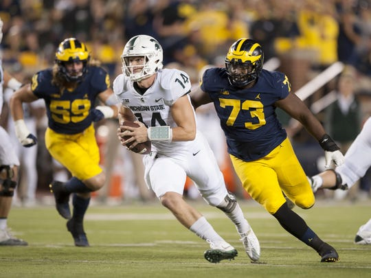 Michigan will get a chance to avenge its 2017 loss to Michigan State and quarterback Brian Lewerke on October 20.
