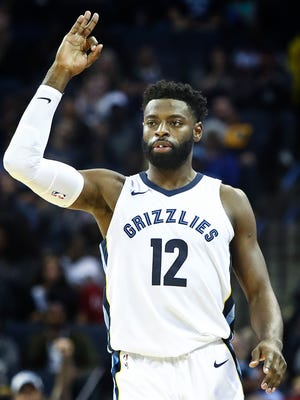 Memphis Grizzlies guard Tyreke Evans celebrates a made three-pointer against the Dallas Mavericks defense during second quarter action at the FedExForum in Memphis, Tenn., Thursday, October 26, 2017.