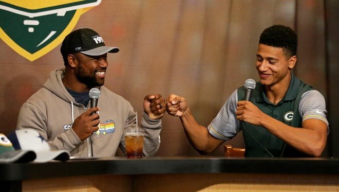 Green Bay Packers wide receiver Ty Montgomery (left) co-hosted Monday's Clubhouse Live in Appleton. Montgomery's guest was rookie wide receiver Trevor Davis. Watch a replay of the show at clubhouselive.com.