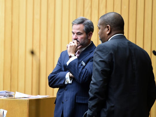 Defense attorneys T. Scott Jones, left, and Aubrey