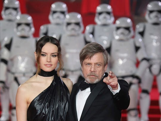 Daisy Ridley and Mark Hamill arrive at the premiere