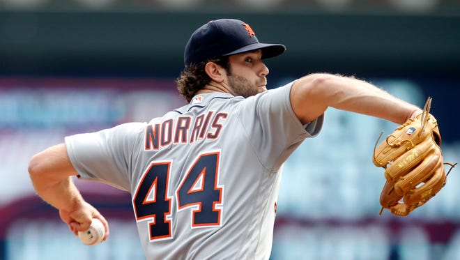 Detroit Tigers pitcher Daniel Norris throws against the Minnesota Twins in the first inning of a baseball game Thursday, Aug. 25, 2016, in Minneapolis.
