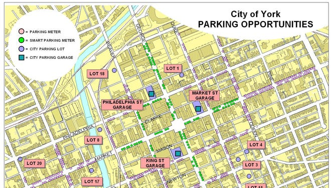 This map of parking in York City is on the Downtown Inc website.
