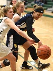 Novi's Mikayla Lynch, left, tries to strip the ball