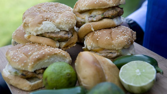 A stack of Aaron McCargo's turkey burgers. The chef
