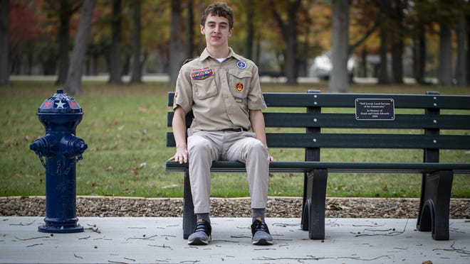 Will Curry of Scout Troop 97 decided to use his Eagle Scout service project as a way to honor former Springfield Mayor Frank Edwards and his wife, Coroner Cinda Edwards, who died earlier this year in a plane crash. Curry developed a plan for a memorial bench and fire hydrant, in honor of Frank Edward's time as Springfield fire chief, and worked with multiple groups and along with the help of family and friends installed the concrete pad, bench and fire hydrant that overlooks Lake Springfield at the Lindsay Boat Launch.