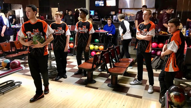 The Linden High School bowling team in action at Jersey Lanes in Linden on Jan. 19. From left: Matt Soto, Justin Peters, Darius Lewis, Matt Golabek and James Fitz.