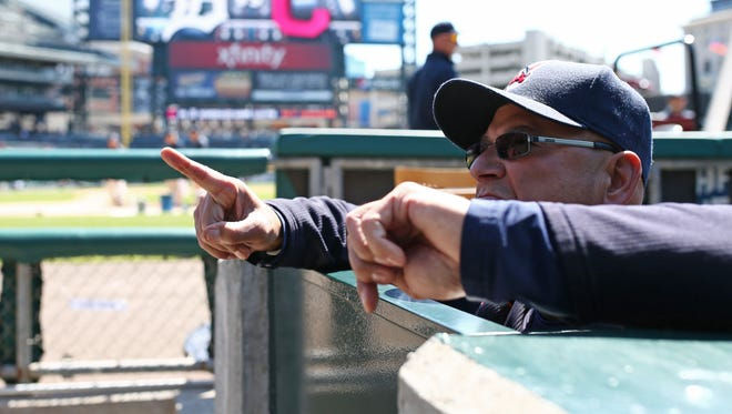 Apr 23, 2016; Detroit, MI, USA; Cleveland Indians manager Terry Francona (17) talks with fans before a game against the Detroit Tigers at Comerica Park.