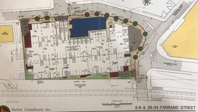 A plan for a six-story apartment building on Farrand Street in Bloomfield presented to the Planning Board on Tuesday, April 18, would include a parking garage open to the public.