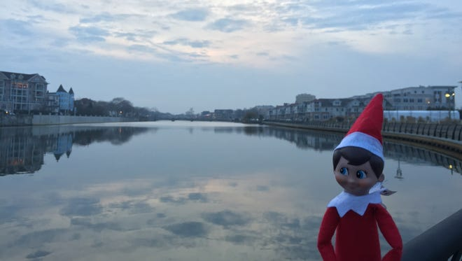 Elf on the Shelf takes in the beautiful views at Wesley Lake.