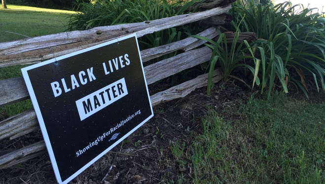 A black lives matter sign outside the Rokeby Museum on Monday, July 11.