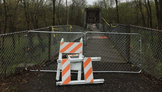 Halfway along the Wallkill Valley Rail Trail, the western approach to the former railroad bridge that spans the Wallkill River has been closed since November due to safety concerns. Town officials say the state has committed $300,000 toward repairs to be completed this year.