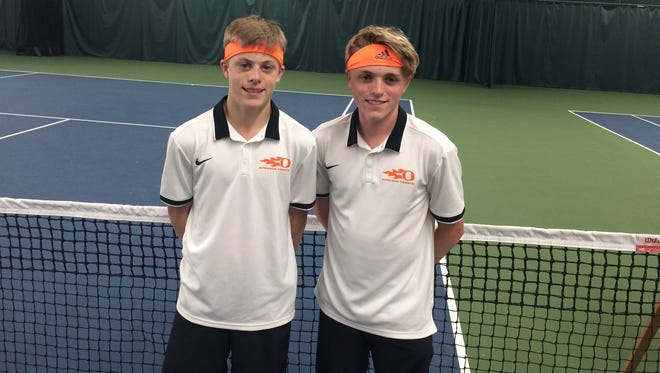 Sprague doubles team Judd Blair (left) and Logan Blair won the Greater Valley Conference district championship Saturday.