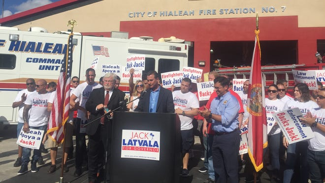 Sen. Jack Latvala, R-Clearwater and Sen. Rene Garcia, R-Miami, stand with supporters in front of the City of Hialeah Fire Station on Wednesday, August 16, 2017. Latvala officially announced his campaign for the Florida gubernatorial seat.