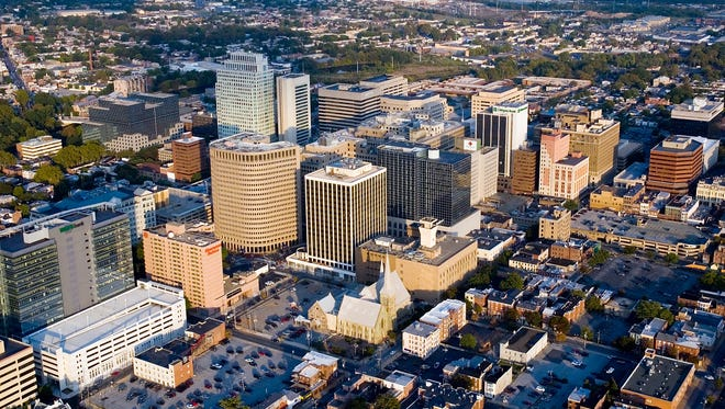 Aerial view of Downtown Wilmington Delaware.