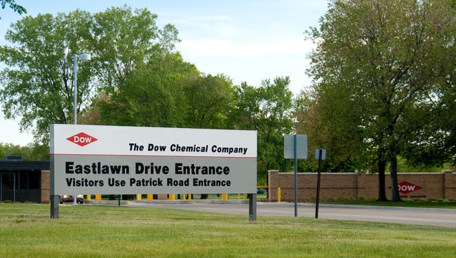 An entrance to the Dow Chemical Co. facility in Midland, Mich., is shown. A type of corn marketed by Dow and DuPont Co. fails to stop a damaging worm from feeding on the crop, a group of insect experts says.