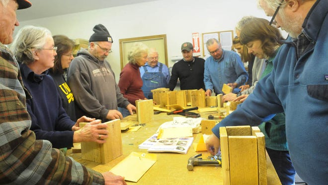 Construction begins at a past bluebird nest box building workshop at The Ridges Sanctuary in Baileys Harbor. The Ridges holds its annual workshop March 17, with naturalist Charlotte Lukes also on hand to discuss attracting and monitoring bluebirds.