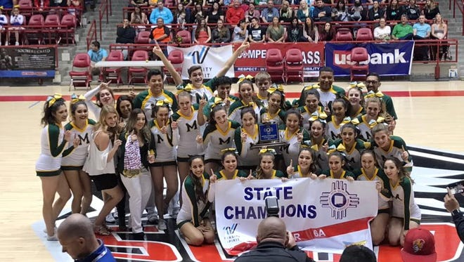 The Mayfield High School cheer team won the Class 6A state title at the NMAA State Spirit Championships at The Pit in Albuquerque on Saturday.