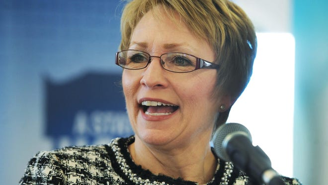 Former Lt. Gov. Sue Ellspermann is reported to be one of two finalists for the presidency of Ivy Tech Community College.