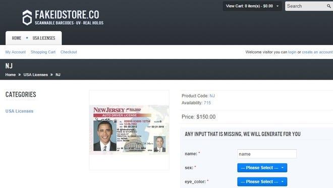 A screenshot from the website fakeidstore.com.