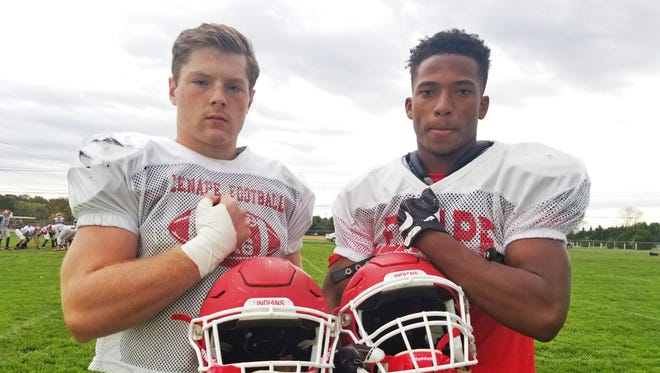 Lenape senior linebacker Mike Galaida, left, and senior running back JoJo Kellum, right, have been crucial leaders for the Indians.