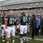 Michigan State players joined Air Force as they sung the Air Force fight song at the end of the game on Saturday at Spartan Stadium.