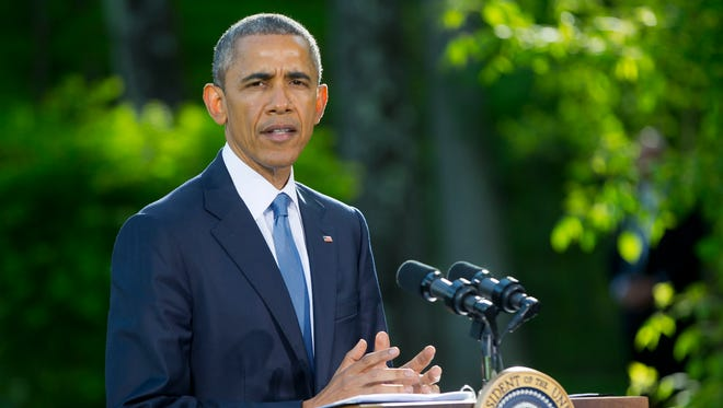 President Barack Obama speaks during a news conference at Camp David in Maryland in this undated file photo.