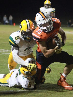 Beech's Asher Talbot makes a reception and goes for extra yardage against Gallatin in Hendersonville, Tenn., on Fri. Oct. 20, 2017.
