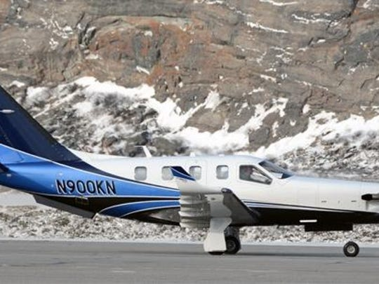 The French-made Socata TBM 900 turbo-prop that crashed Sept. 5 with Larry and Jane Glazer aboard.