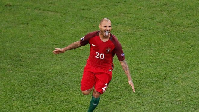 Portugal's Ricardo Quaresma celebrates after scoring the decisive penalty.