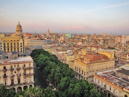 A view from Old Havana's Hotel Sevilla includes the