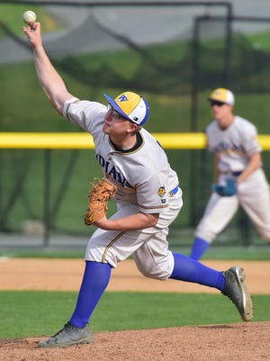Waynesboro's Paul Steiger pitches for the Indians. Waynesboro defeated Chambersburg 12-2 in 5 innings on Monday, April 23, 2018.