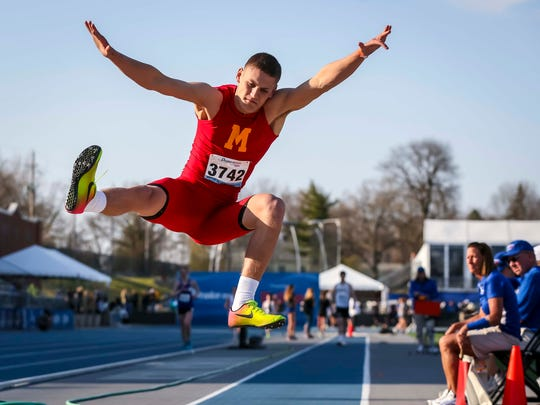 Blair Brooks, Marion, competes in the boy's long jump Thursday, April 26, 2018, at the Drake Relays in Des Moines, Iowa.
