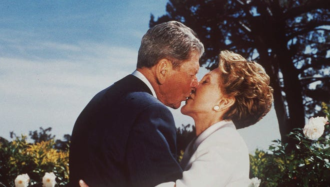 Ronald and Nancy Reagan at their Bel Air home on April 16,1998.