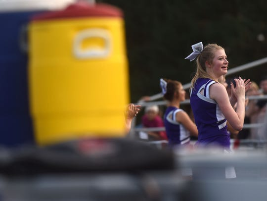 Beresford cheerleader performs during the game at Beresford